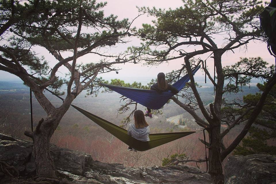 two hikers find a way to make a hammock   bunk bed    photo  brian balik high strung  why you need a hammock in your life  rh   theoutbound