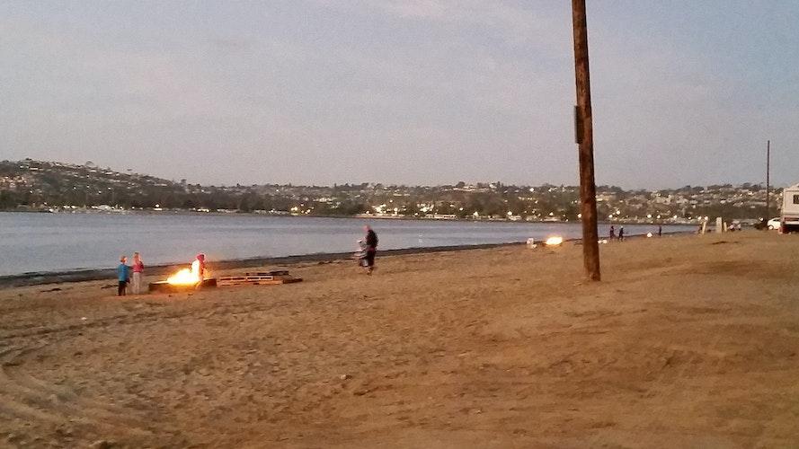 Bonfire at Fiesta Island, San Diego